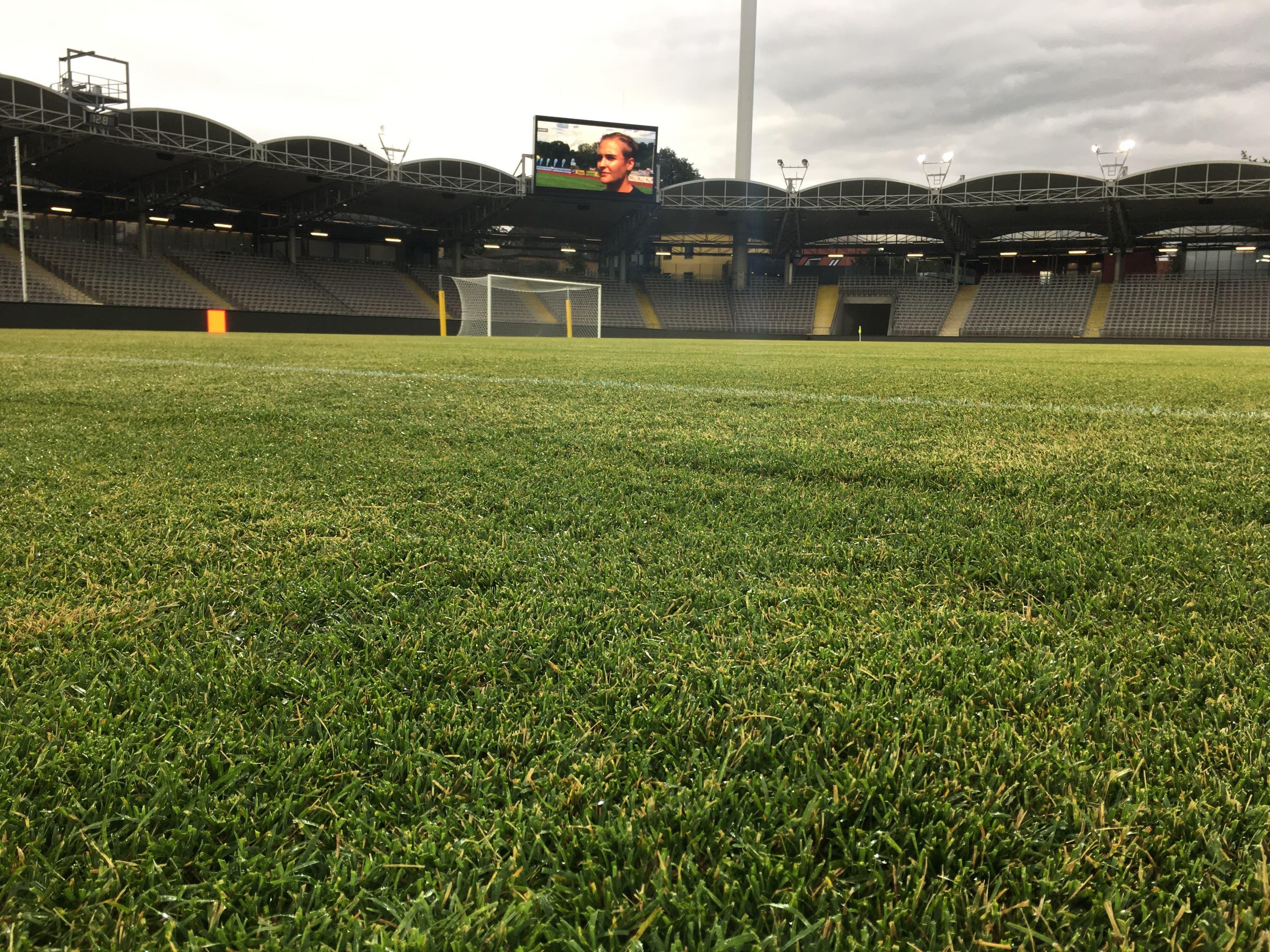 Der Rasen wurde frisch verlegt. Normalerweise spielt der LASK im Vorort Pasching.