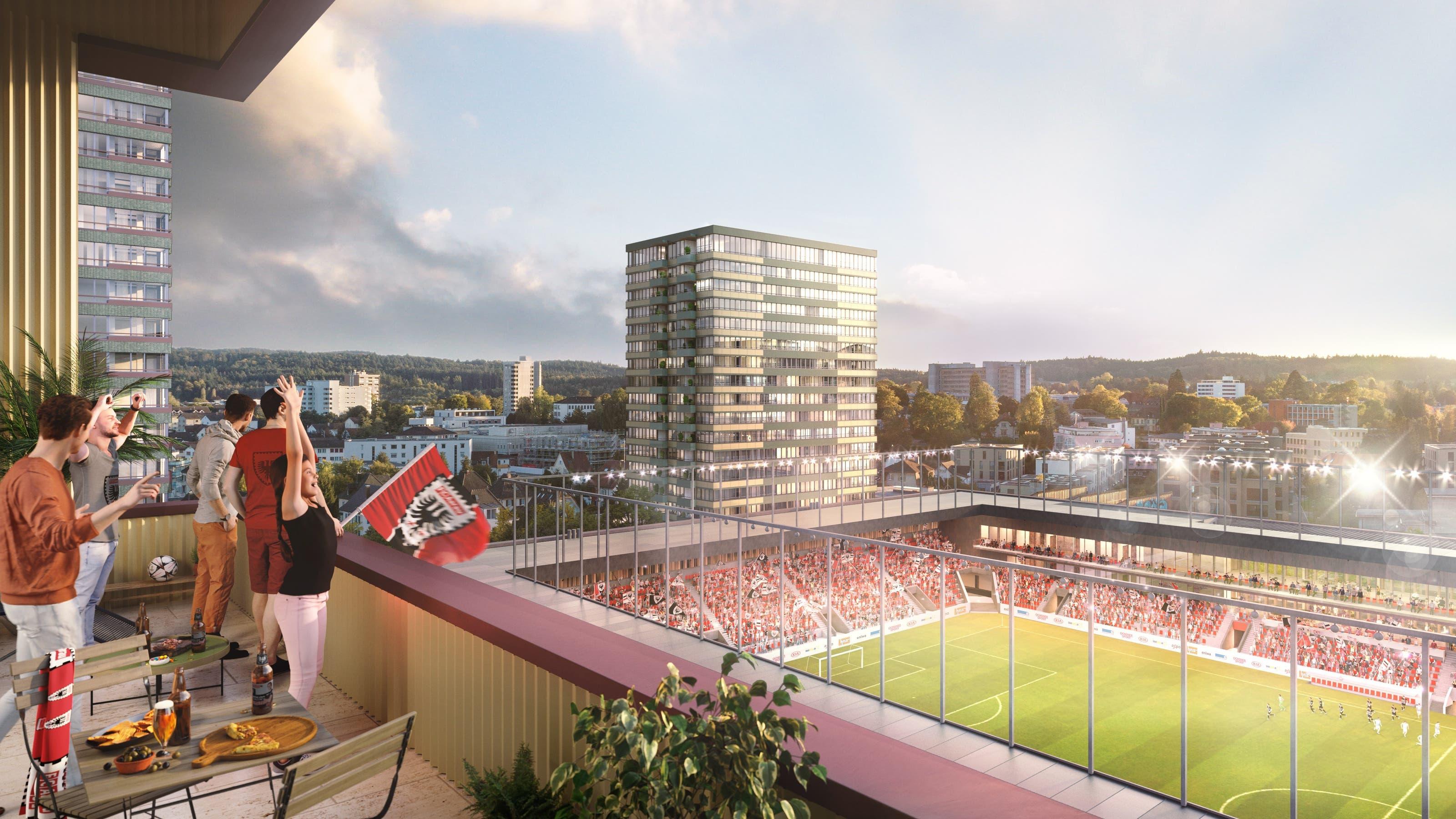 Das sind Visualierungen der Stadion-Bauherrin HRS Real Estate AG vom geplanten Hochhausquartier im Torfeld Süd. Hier der Blick von der Gemeinschaftsloggia im Hochhaus B