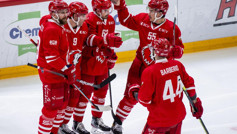 Lausanne gewann am Sonntag 6:1. Es war das einzige Spiel der coronageplagten National League. (Jean-Christophe Bott / KEYSTONE)