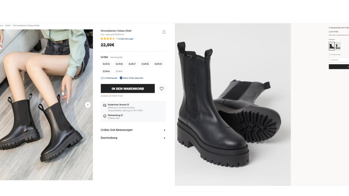 Auch für Stiefel bezahlt man bei Shein nur die Hälfte: Das Modell der Billig-Website kostet umgerechnet 24 Franken, bei H&M 48 Franken.