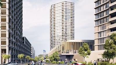 So soll die Überbauung mit dem 110-Meter-Hochhaus (Bildmitte), der Arena sowie dem 50-Meter-Hochhaus (rechts abgeschnitten) aussehen. (Visualisierung: Büro Raumgleiter)