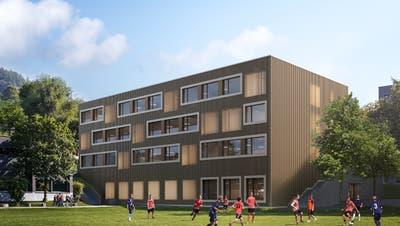 So soll das Schulhaus Acher Mitte in Unterägeri nach seiner Fertigstellung aussehen. Es ist eines der grossen Investitionsprojekte, die die Gemeinde zurzeit realisiert. (Visualisierung: PD)