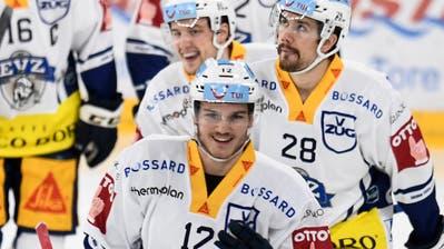 10.11.2020; Biel; Eishockey National League - EHC Biel - EV Zug; Yannick Zehnder (Zug) jubelt nach seinem Tor zum 0:1 (Urs Lindt/freshfocus) (Urs Lindt / freshfocus)