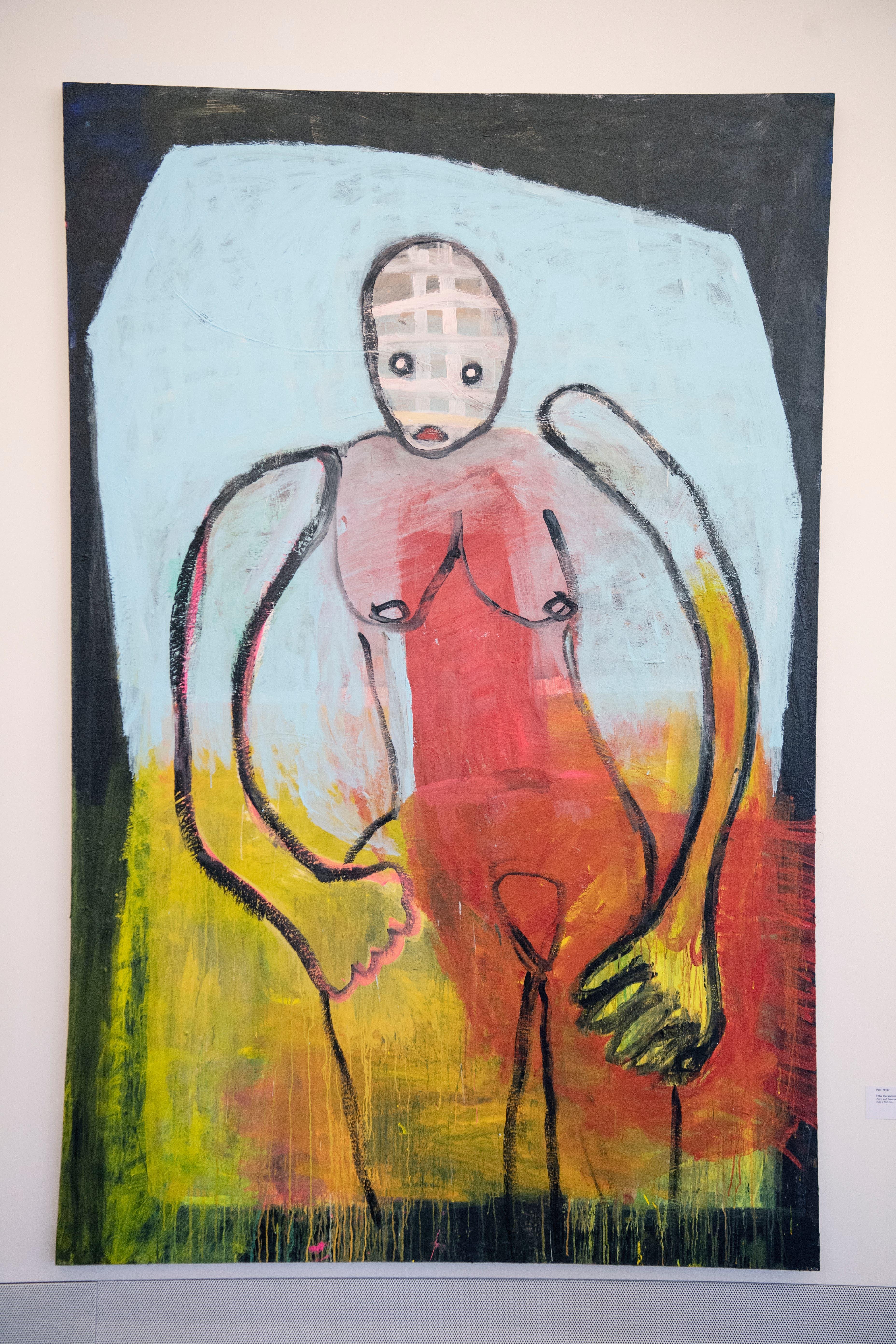Pat Treyer: «Frau die kommt». Acryl auf Baumwolle.