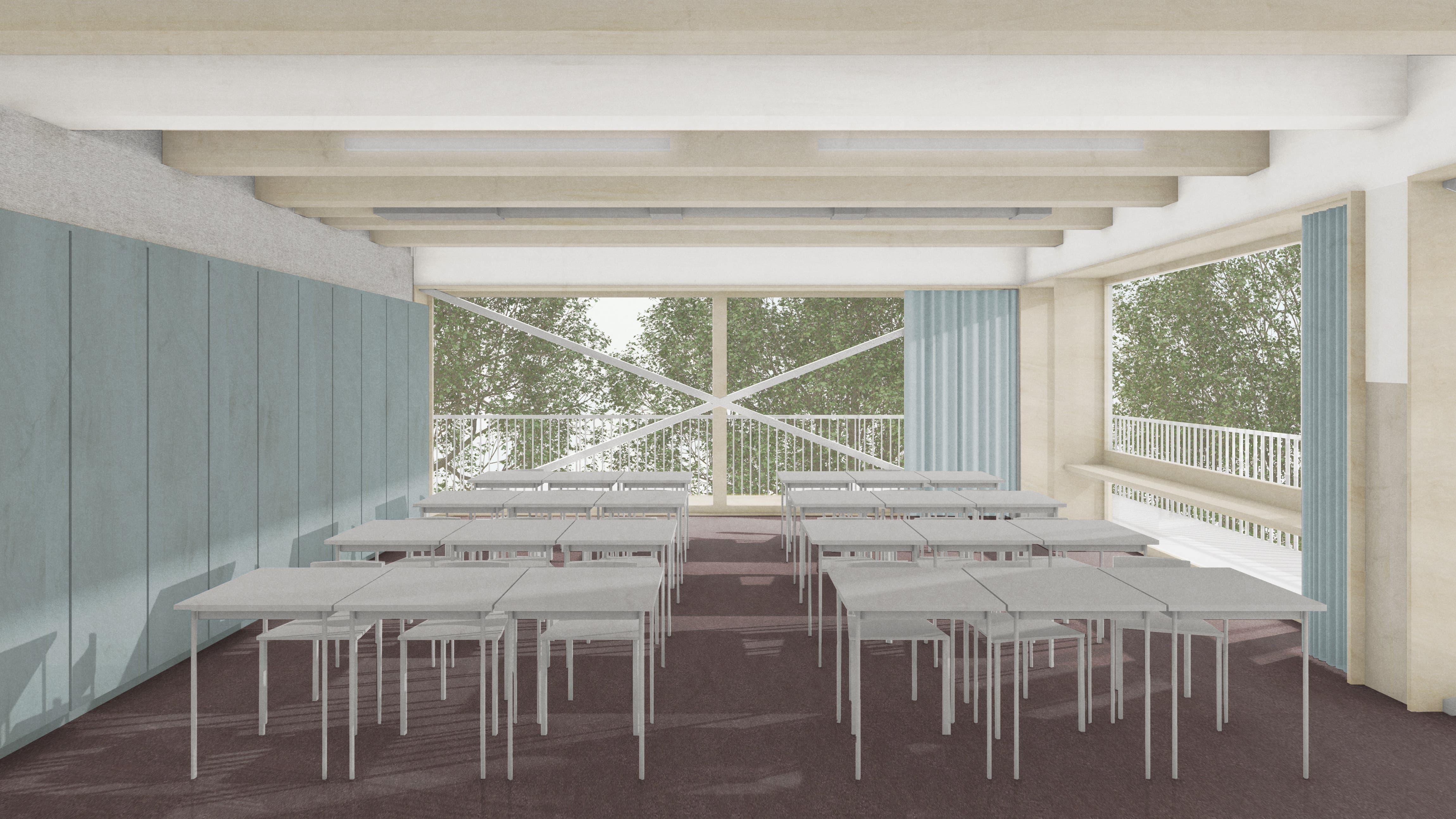 In den beiden oberen Stockwerken befinden sich die Klassenzimmer der Primarschule.