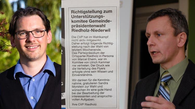 CVP wehrt sich mit Inserat: Parteipräsident hat SVP-Sympathisant Ulrich Kammer nicht unterstützt