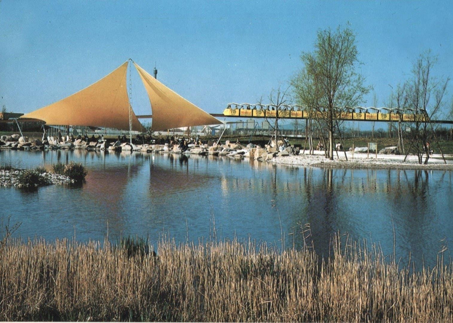 Wie aus einem James-Bond-Film: Am 12. Oktober 1980 endete die Grün-80. Von der Ausstellung blieb vieles erhalten – nicht jedoch die Monorail, die das Gelände umrundete.