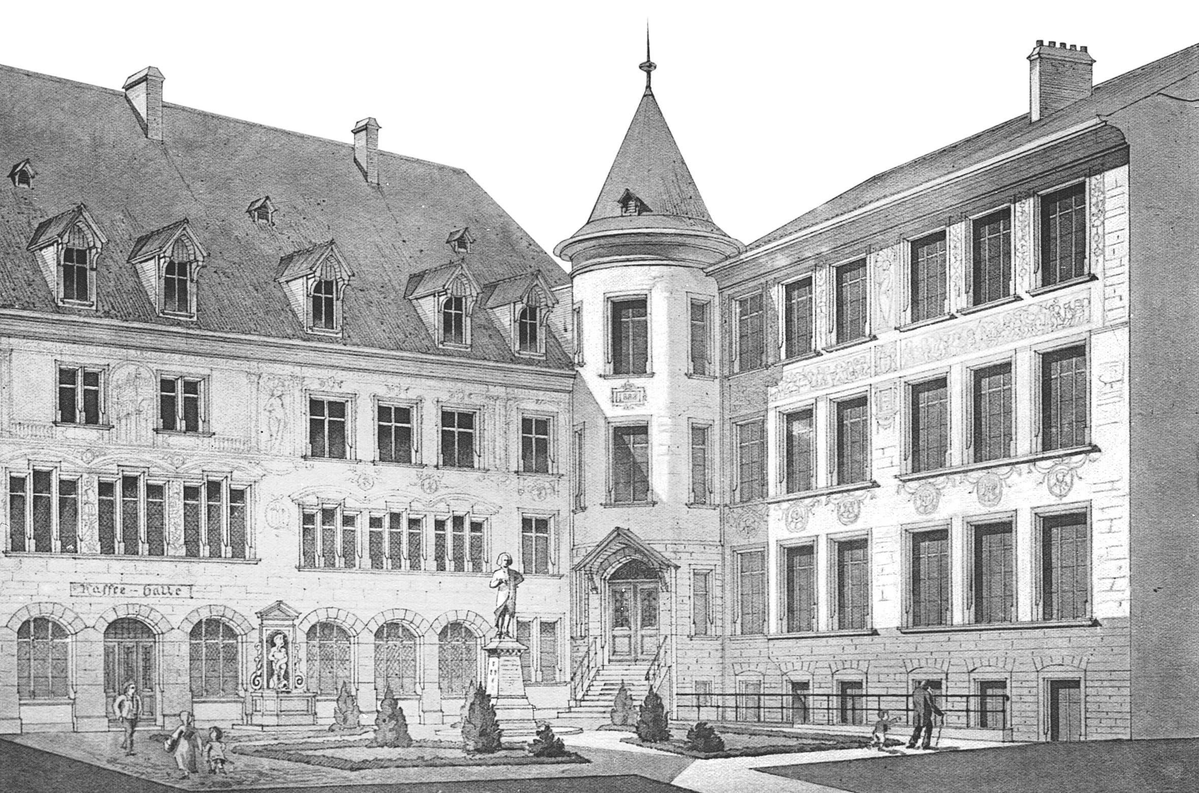 1787 Die Lesegesellschaft gilt als Wiege der Casino-Gesellschaft und somit des Musiksaals. Sie wurde 1787 in der Schmiedezunft in Basel gegründet. Sie war einer der wenigen Orte, wo sich die aufgeklärte bürgerliche Gesellschaft der Stadt treffen konnte. Damals jedoch noch ohne Begleitung der Frauen. (Auf dem Bild zu sehen: Der Innenhof des Schmiedenhofs mit der Statue von Isaak Iselin )