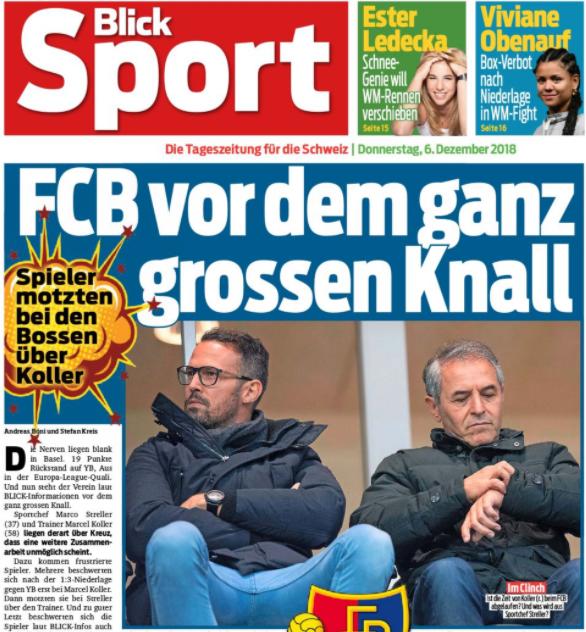 Der Spieleraufstand Koller verliert mit dem FCB in Bern 1:7. Als im Dezember auch das Rückspiel in Basel 1:3 verlorengeht und YB enteilt, beklagen sich die Spieler bei Präsident Burgener über die distanzierte Art von Koller. Trotzdem darf er bleiben.