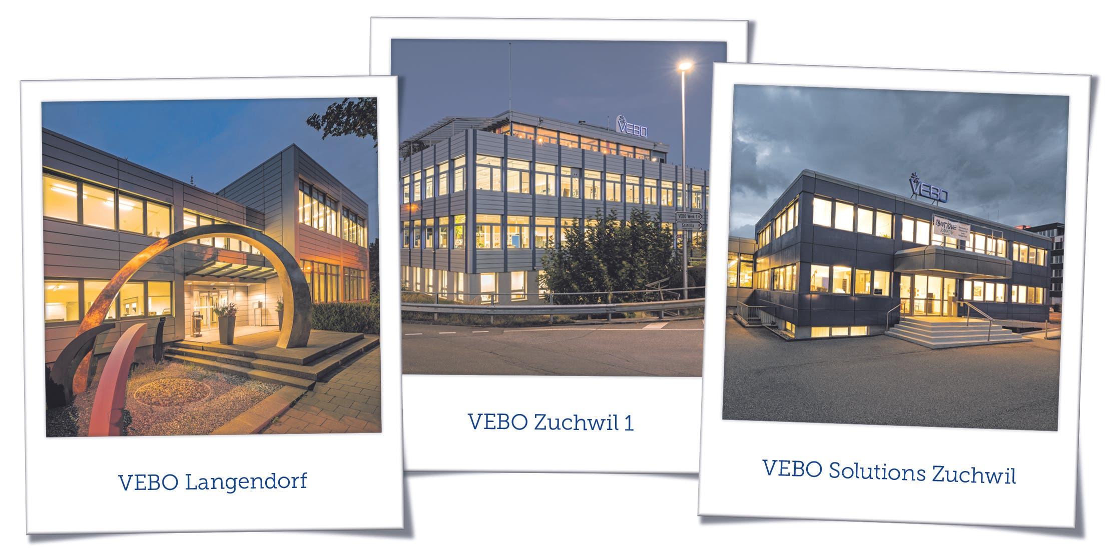 Die drei VEBO Betriebe in der Region Solothurn: Langendorf, Zuchwil 1 und Solutions Zuchwil
