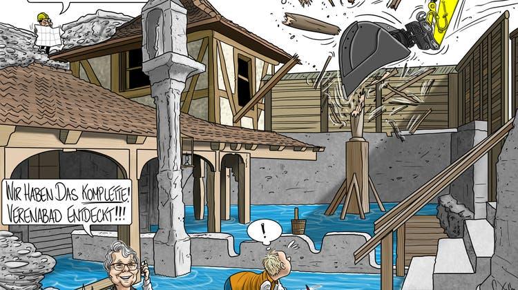 Bäderquartier, Wildpinkler und Bussenkassen im Wochengeflüster: Warten wir noch Fortyseven Jahre aufs Thermalbad?