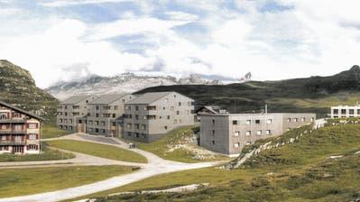 Die Visualisierung des Bauprojektes «Dryyerli»auf Melchsee-Frutt. Links im Bild ein Teil der bestehenden Überbauung Obere Frutt, ganz rechts ein Teil des Hotels Frutt  Lodge & Spa. (Bild: PD)