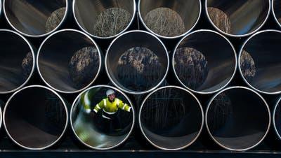 Ein Mitarbeiter prüft tonnenschwere Rohre für die zukünftige Ostsee-Gaspipeline Nord Stream 2 auf einem Lagerplatz im Hafen von Sassnitz-Mukran (Mecklenburg-Vorpommern, Deutschland). (Archivbild: Jens Büttner/DPA)