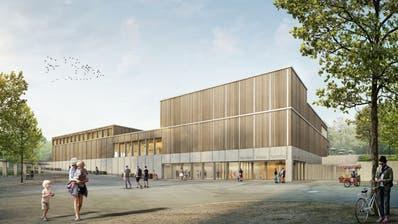 Eine Visualisierung des Hallenbad-Neubaus: der Eingangsbereich. ((Bild: PD))