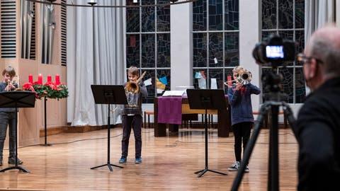 Das Konzerts der Musikschule Stadt Luzern in der Lukaskirche wurde aufgenommen. Ausschnitte davon gehen in den nächsten Tagen online. (Bild: Patrick Hürlimann (Luzern, 20. November 2020))