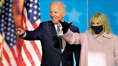 Am Ziel: Der Demokrat Joe Biden, 77, wird der nächste US-Präsident. Jill Biden, 69, zieht als First Lady ins Weisse Haus ein. (Bild: Andrew Harnik/AP/Keystone (Wilmington, 3. November 2020))