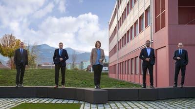 Der amtierende Gemeinderat Emmen (von links): Patrick Schnellmann, Josef Schmidli, Ramona Gut-Rogger, Brahim Aakti, Thomas Lehmann. (Biljana Wechsler)
