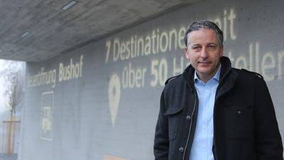 Goldachs Gemeindepräsident Dominik Gemperli freut sich über die Fertigstellung des Bushofs. (Bild: Jolanda Riedener (Goldach, 14.12.2020))