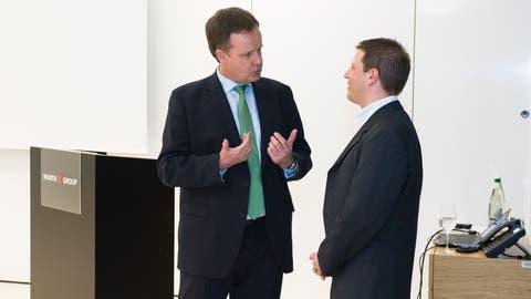 Guido Hunke (links) im Gespräch mit Christian Erhard von Ebay im Rorschacher Würth-Haus. (Bild: PD)