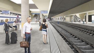 So könnte der unterirdische Bahnhof Luzern dereinst aussehen. (Visualisierung: SBB)