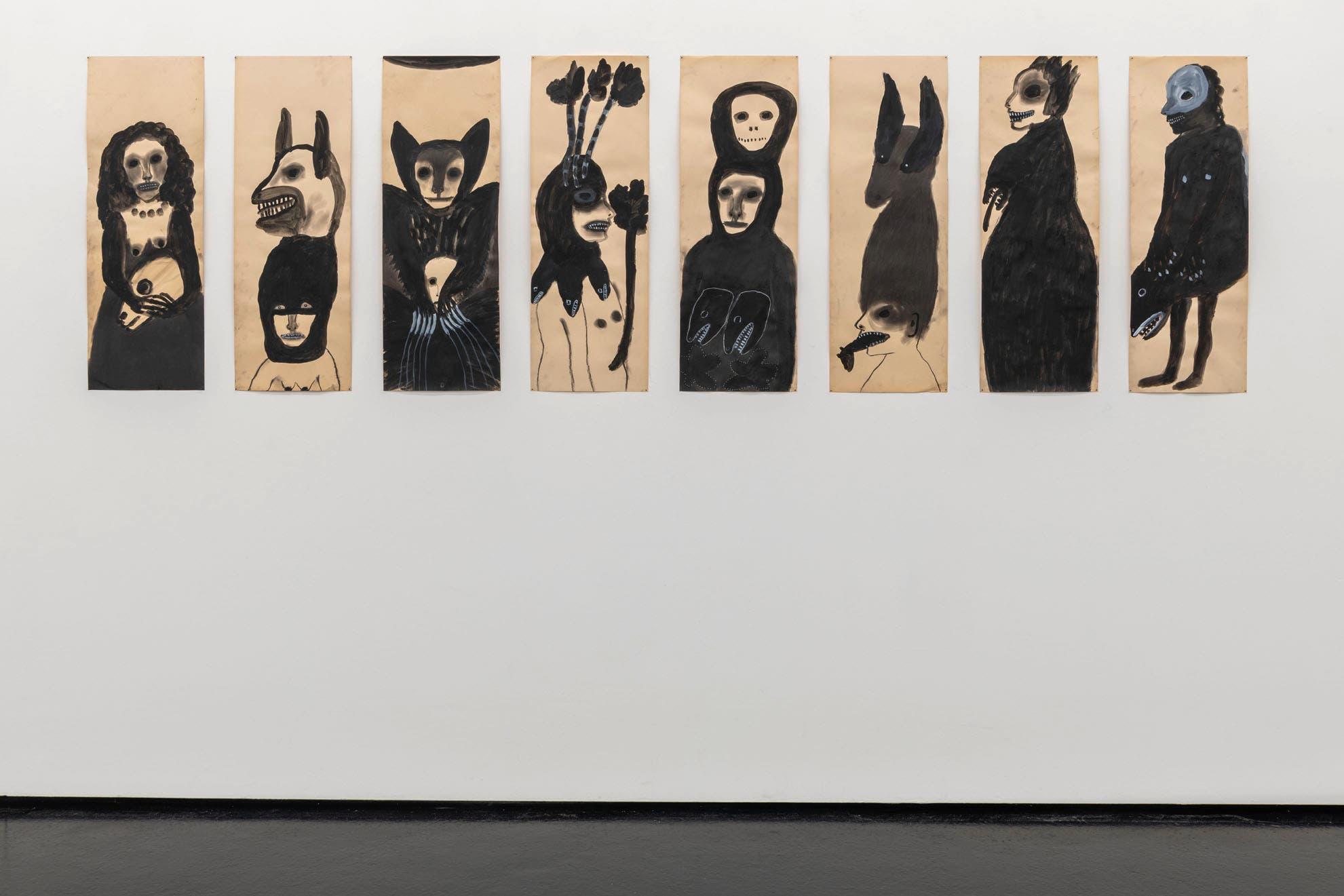 Barcelo, Annette (*1953). Wir sagen es nicht weiter, 2019. Kohle, Acryl auf Papier, 8-teilig, je 85 x 30 cm.