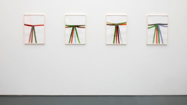 Bächli, Silvia (*1956) Ohne Titel, 2020. Gouache auf Papier 4 Zeichnungen, je 64 x 46.5 x 3 cm. (René Rötheli)
