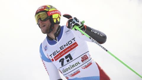 Zehn Jahre Warten sind genug. Justin Murisier steht in Alta Badia erstmals auf einem Weltcup-Podest. (Bild: Keystone)