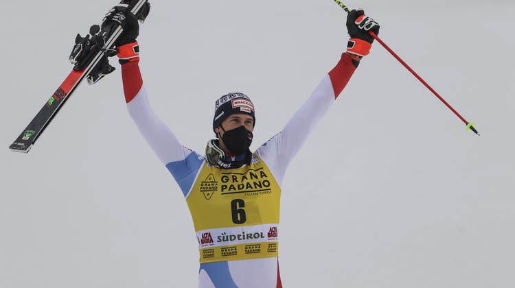 Ramon Zenhäusern (28) feiert im italienischen Alta Badia seinen vierten Weltcup-Sieg. (Keystone)