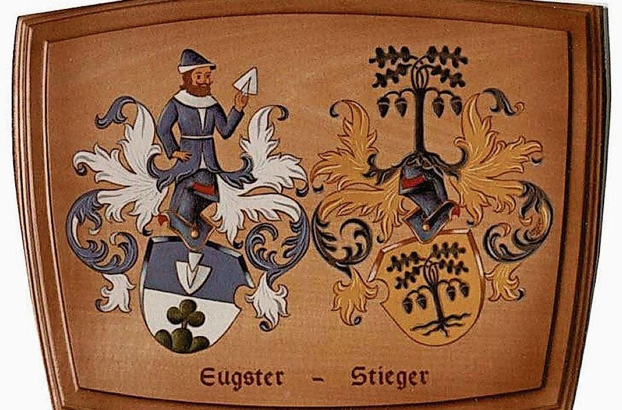 Detailreich: Wappenschild der Familien Eugster und Stieger.
