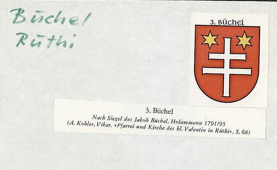 Das Wappen der Familie Büchel aus Rüthi.