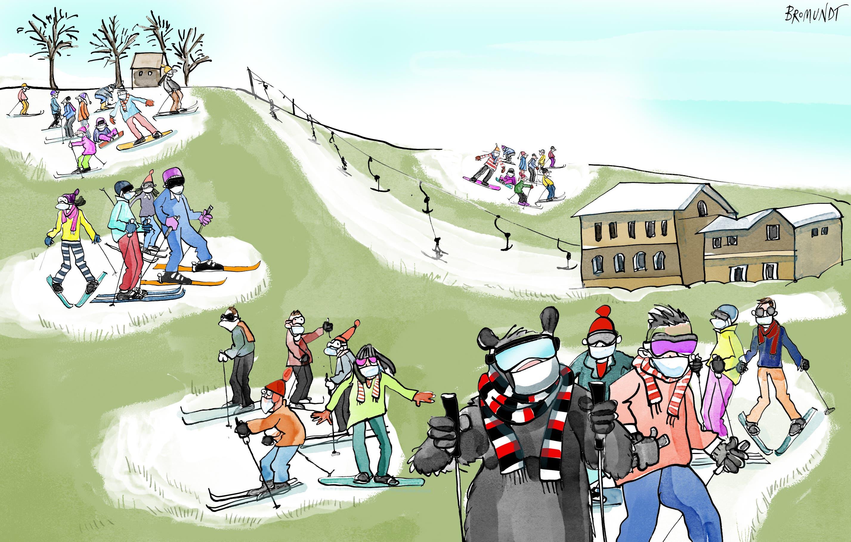 Schutzkonzept.  Die Skilifte in Stadt und Umgebung hoffen im Coronajahr auf daheimgebliebene Wintersportler, müssen sich aber mit Schutzkonzepten und Auflagen des Bundes herumschlagen. Beim Anstehen sind Abstand und Maske Pflicht. Folgt der Winter dem Trend der letzten Jahre, wird es aber eher auf der Piste eng statt am Lift. (Illustration: Corinne Bromundt - 5. Dezember 2020)