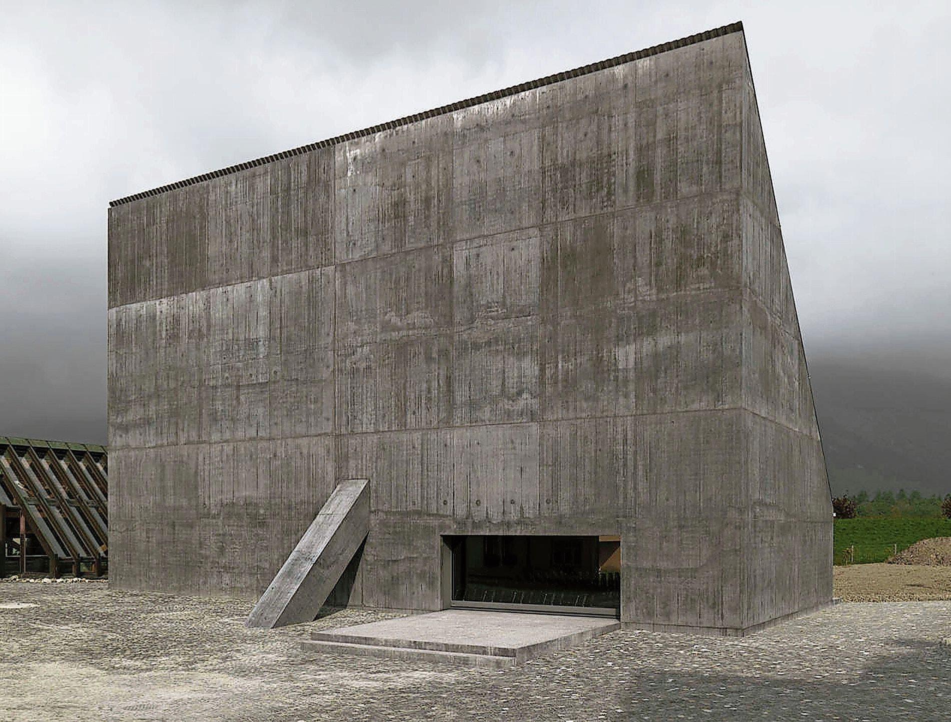Der Minimalismus des von Valerio Olgiati entworfenen Auditoriums des Landwirtschaftszentrums Plantahof in Landquart hat den US-Rapper besonders beeindruckt.