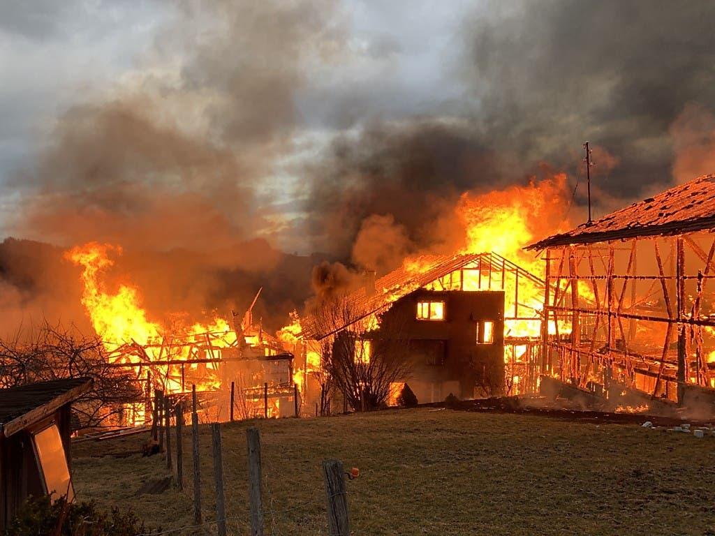 Sturmböen haben in einem Weiler in Bauma ZH die Flammen angefacht.