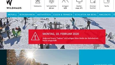 Sowohl die Bergbahnen Wildhaus als auch die Toggenburg Bergbahnen informieren auf ihrer Webseite über die Schliessung der Anlagen wegen «Sabine». (PD)