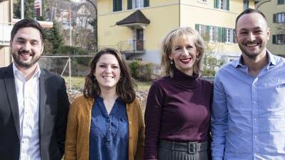 Erster gemeinsamer Auftritt der Kandidaten-Teams in Hitzkirch (LU), von links nach rechts: Cédric Wermuth, Mattea Meyer, Priska Seiler und Mathias Reynard. (Keystone)
