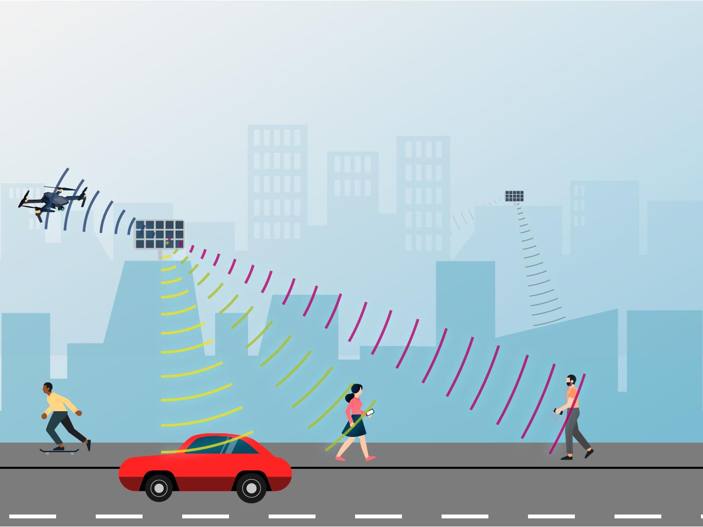 ... sind die Strahlen von adaptiven Antennen punktueller und zielen auf die jeweiligen Endgeräte.