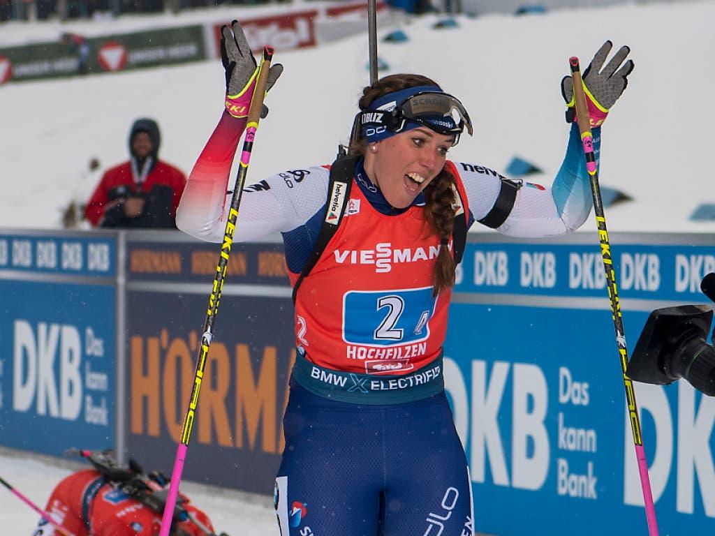 Neues Aushängeschild des Schweizer Biathlonsports: Lena Häcki lief auch als Einzelathletin erstmals aufs Podest
