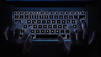 Ein Mann tippt auf einem Laptop (gestellte Szene). (Bild: Silas Steiner / DPA)