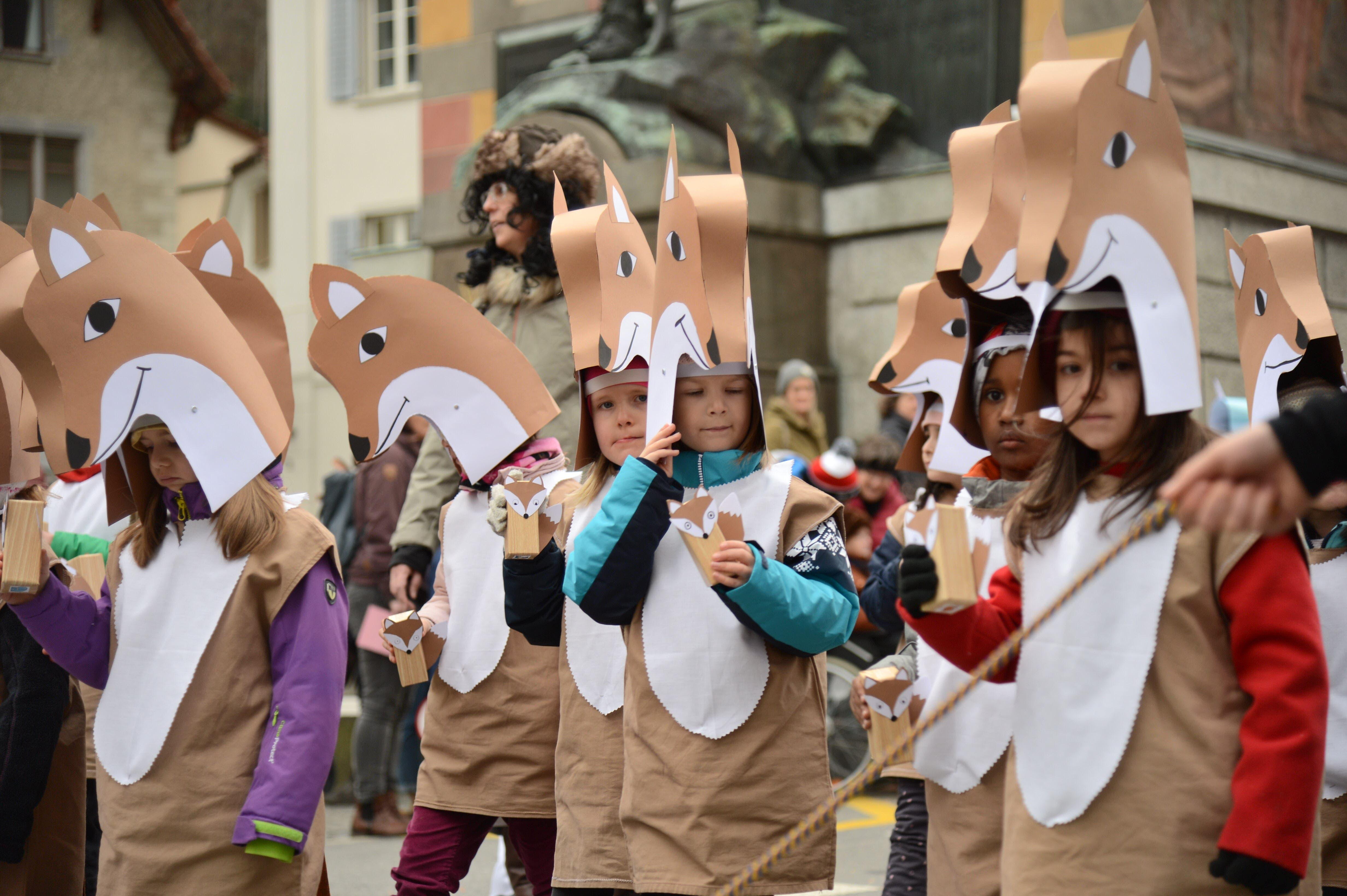 Schlaue Füchse an der Schulkatzenmusik in Altdorf.