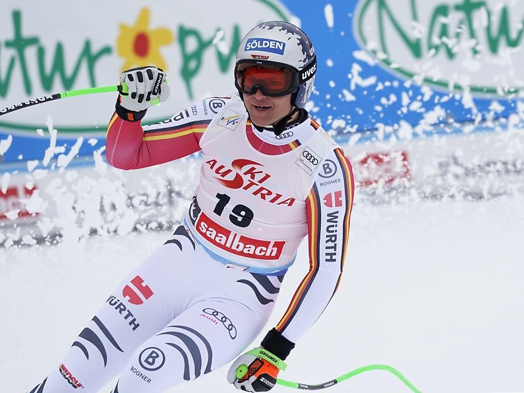 Thomas Dressen liess seinem Sieg in der Abfahrt den 3. Platz im Super-G folgen