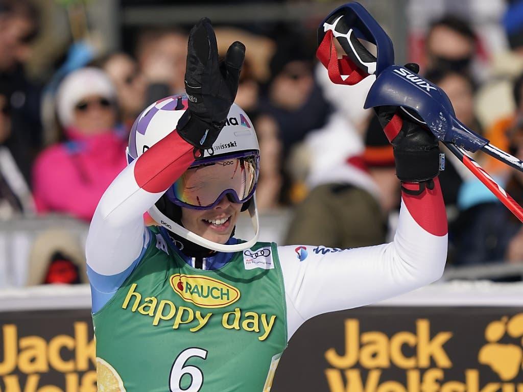 Michelle Gisin durfte in Kranjska Gora über einen weiteren Top-10-Platz jubeln
