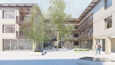 Das Projekt «abbracci» des Architekturbüros Antoniol+Huber aus Frauenfeld: So könnte dasGenerationenwohnen im MünsterlingerTeupelacker aussehen. ((Visualisierung: PD))