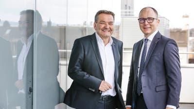 Geben die Richtung und das Tempo der Thurgauer Kantonalbank vor: Bankratspräsident René Bock (links) und der Geschäftsleitungsvorsitzende Thomas Koller. (Bild: Donato Caspari (Weinfelden, 18. Februar 2020))
