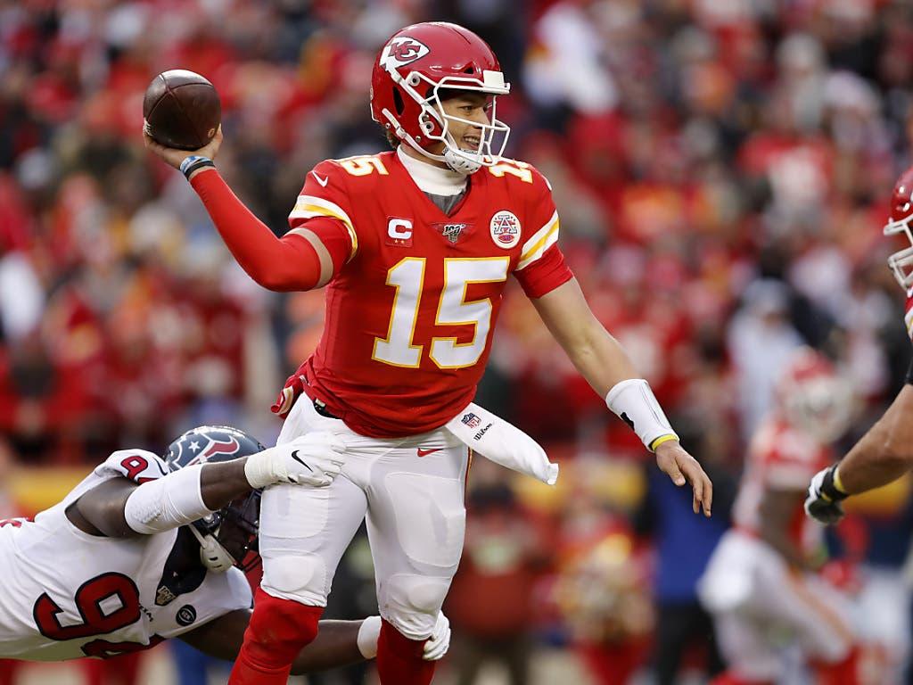 Steht im Fokus des Interesses: Patrick Mahomes. Kein anderer Spieler in der NFL hat einen Wurfarm wie der Quarterback der Kansas City Chiefs. Der 24-Jährige erzielte in der vergangene Saison 50 Touchdowns und wurde als MVP ausgezeichnet