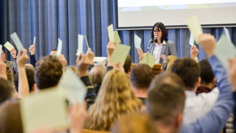 Die Stimmberechtigten genehmigen das Budget 2020 der Volksschulgemeinde Wigoltingen mit Präsidentin Nathalie Wasserfallen. ((Bild: Donato Caspari))