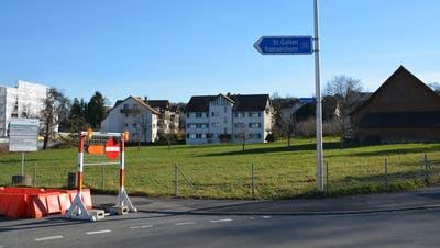 Hier soll die geplante Überbauung entstehen: Blick vom Seeparkkreisel auf die «Rüütiwise» in Kurzrickenbach. ((Bild: Stefan Böker))