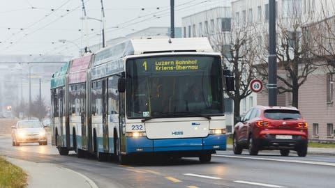 Die Buslinie 1 der VBL. (Bild: Jakob Ineichen (Ebikon,22. Januar 2020))