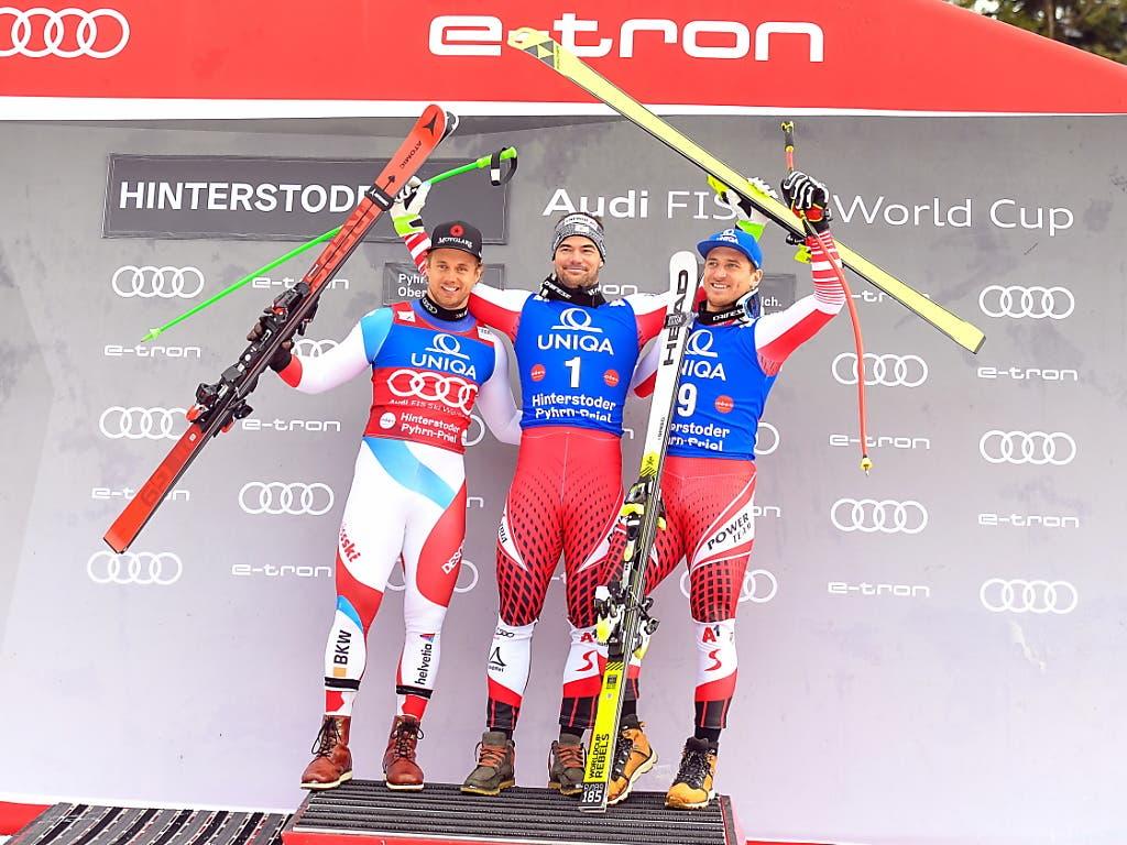 Die Besten des Super-G in Hinterstoder (v.l.): Mauro Caviezel, Vincent Kriechmayr, Matthias Mayer