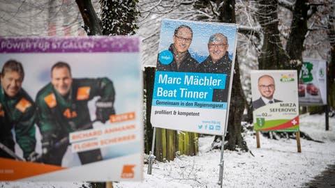 Die Parteien präsentieren ihre Regierungsratskandidaten im Duo wie die FDP Marc Mächler und Beat Tinner in Wittenbach. (Urs Bucher)