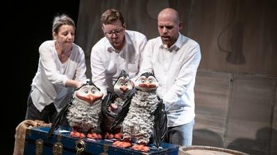 Drei Pinguine sind auf der Arche Noah einer zuviel – zu sehen im Figurentheater. ((Bild: PD/Tine Edel))